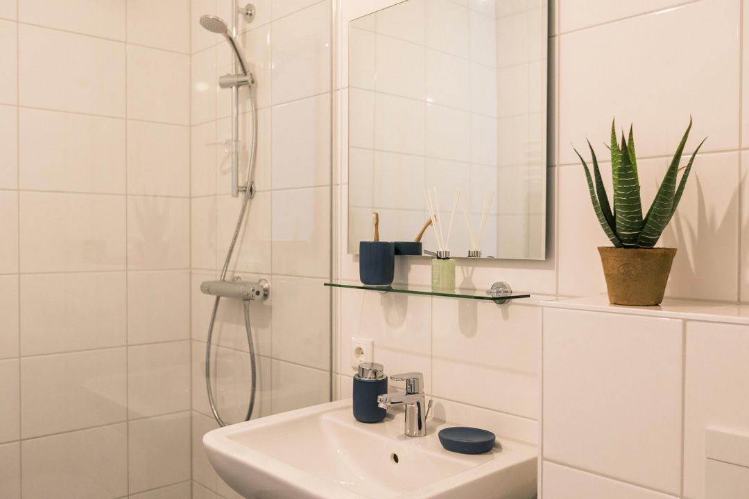 Bathroom detail of North House 2-bedroom apartment in OurDomain Amsterdam South East