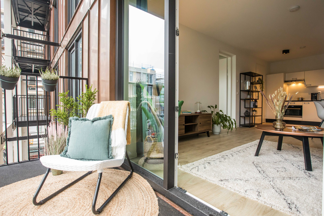 Outdoor space terrace of furnished North House 2-bedroom apartment in OurDomain Amsterdam South East