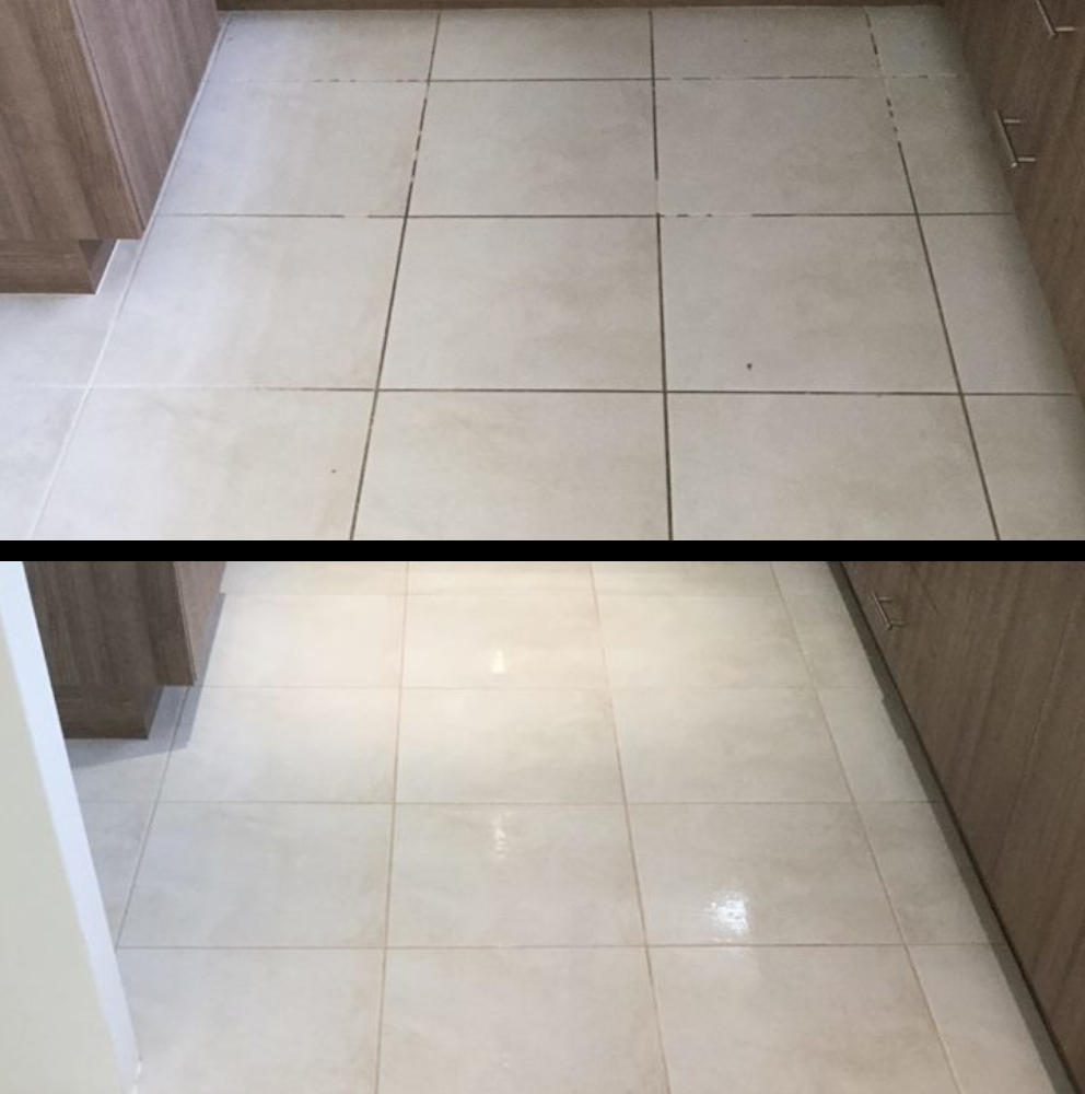Before and after tiles cleaned