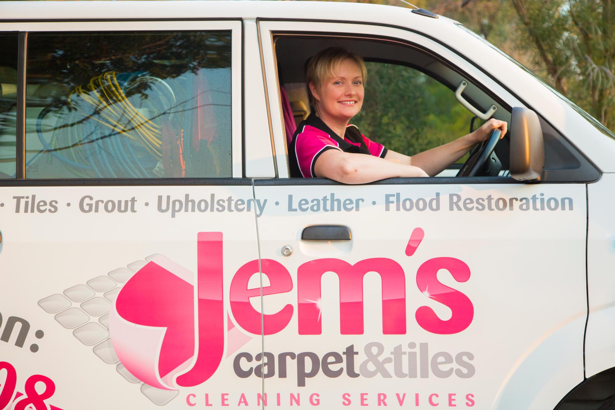 Jem inside her van