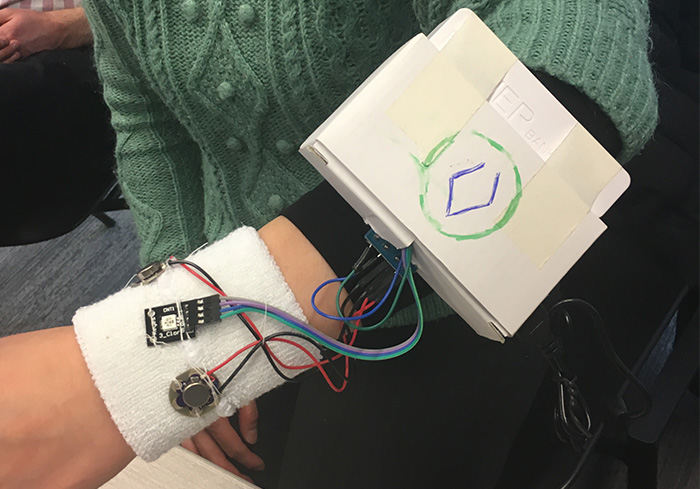 Wearable prototype worn on an arm