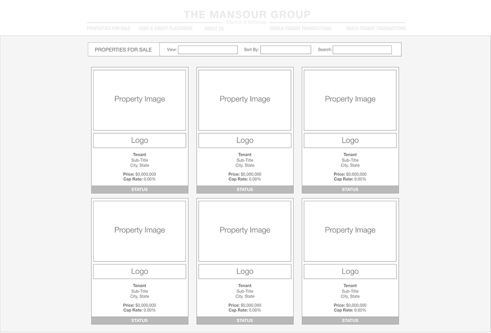 wireframe of property thumbnails