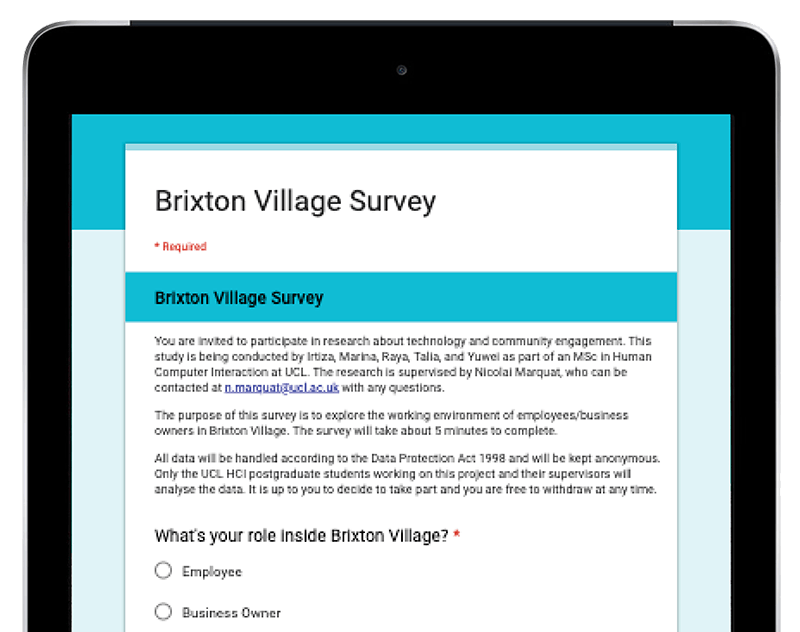 iPad displaying an online questionnaire