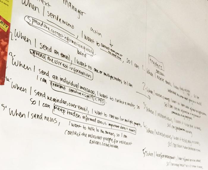 Job stories written on a whiteboard