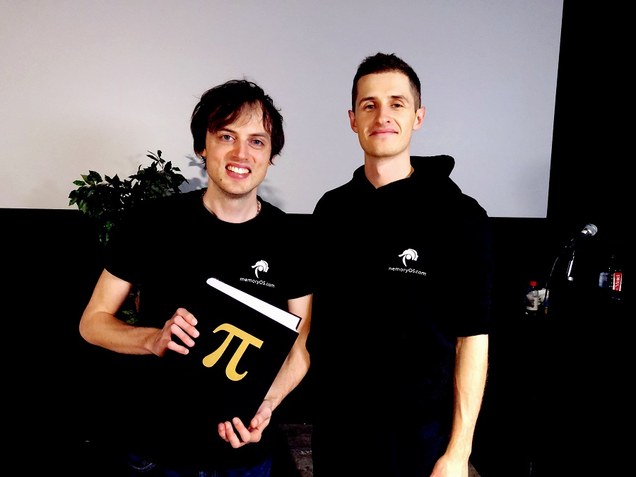 Co-founders of memoryOS Jonas von Essen and Alex Ruzhytskyi at the Pi Day 2020 event in Stockholm, Sweden