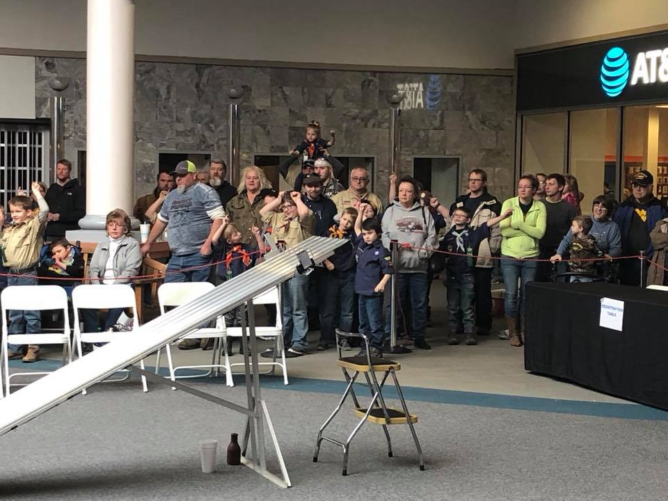 People watching the Pinewood Derby