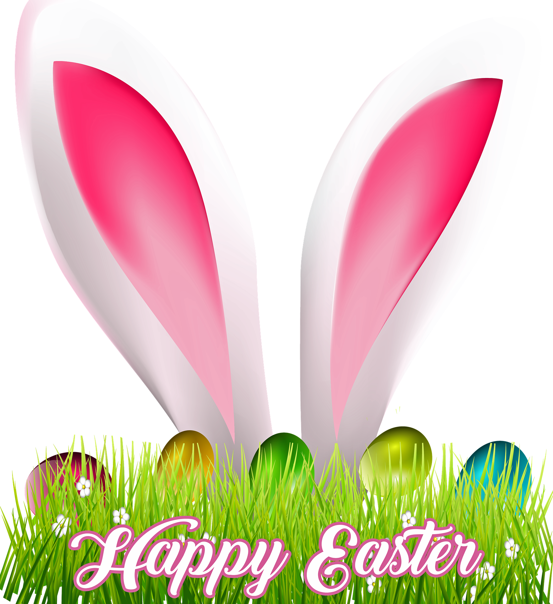 Bunny ears poking out of grass with Happy Easter text