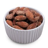 Smoked almonds in bowl