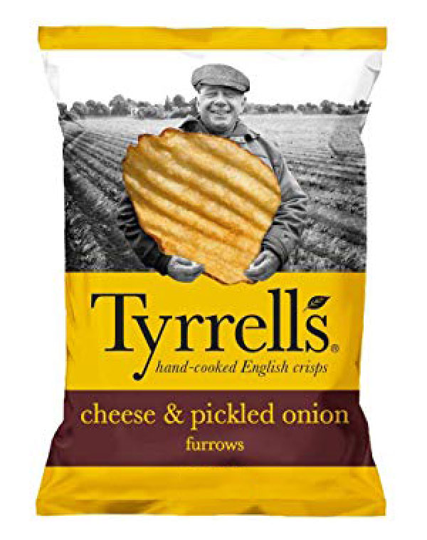 Bag of Tyrell's Crisps Furrows Mature Cheddar & Pickled Onion