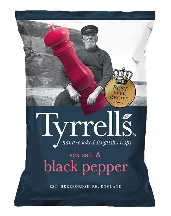 Bag of Tyrell's Crisps Sea Salt & Cracked Black Pepper