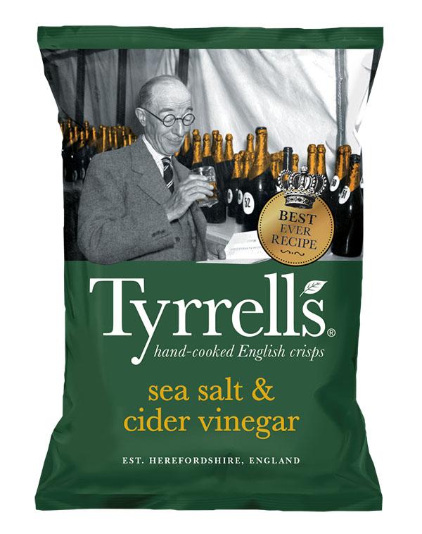 Bag of Tyrell's Crisps Sea Salt & Cider Vinegar