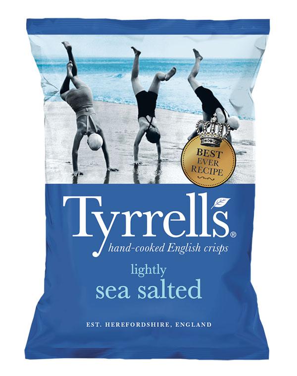 Bag of Tyrell's Crisps sea salt and cider vinegar