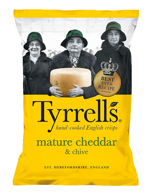 Bag of Tyrell's Crisps Mature Cheddar  & Chives