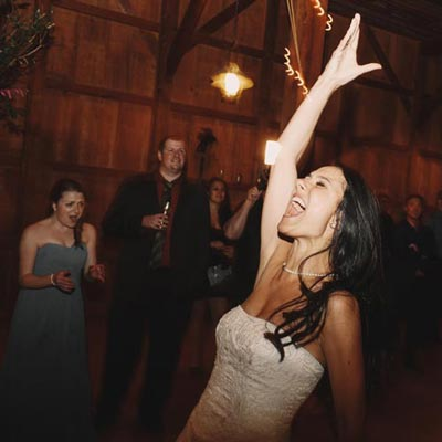 a bride having fun