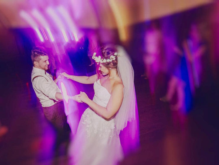 young newly married couple dancing