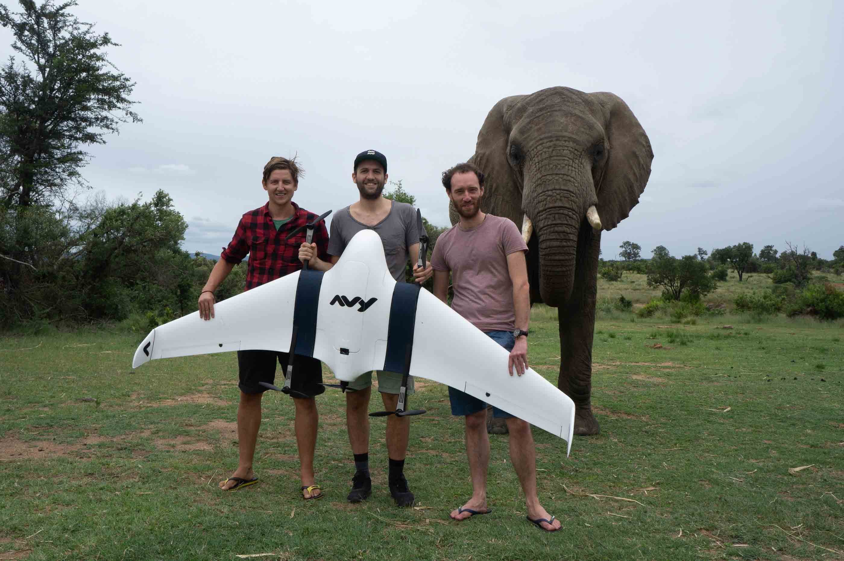 The team with the drone and elephant