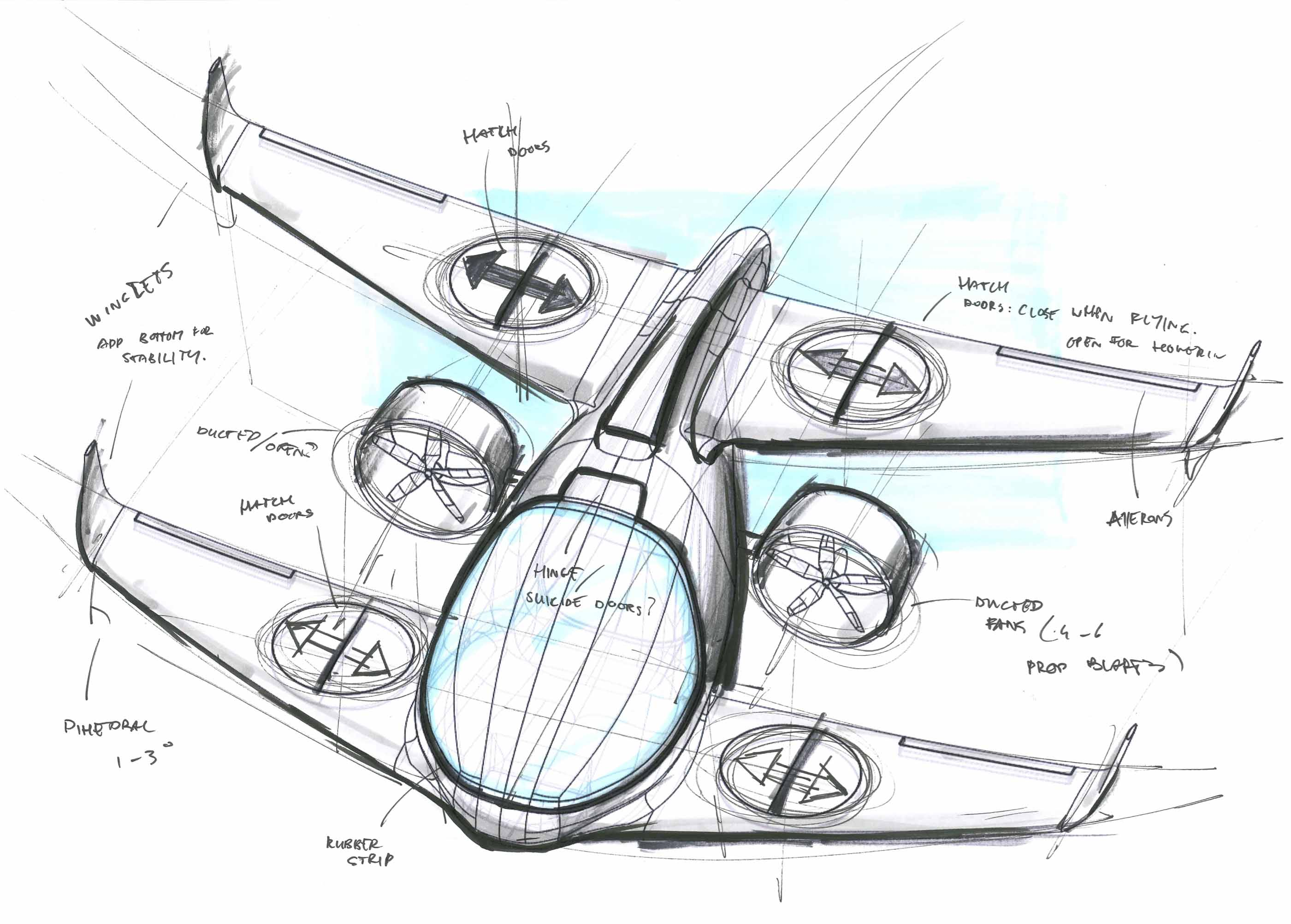 sketch of avy wing drone