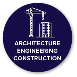 AEC icon with construction and crane/building