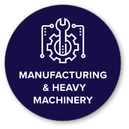 manufacturing icon with gear and wrench