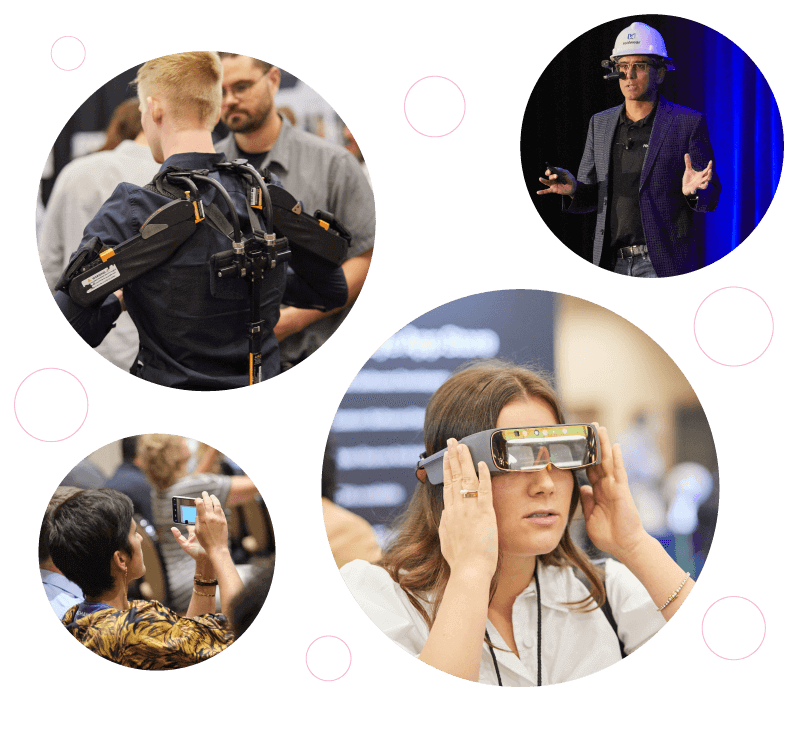 image cloud of exoskeleton, thirdeye mixed reality headset, Realwear speaker with headset on stage, and audience members of EWTS 2019