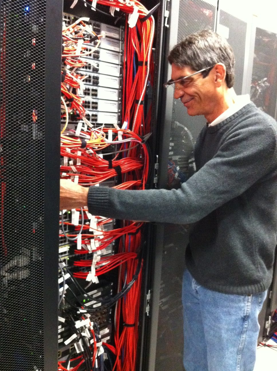 Michael with Google Glass and networking in the lab
