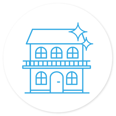 Pressure washed house icon