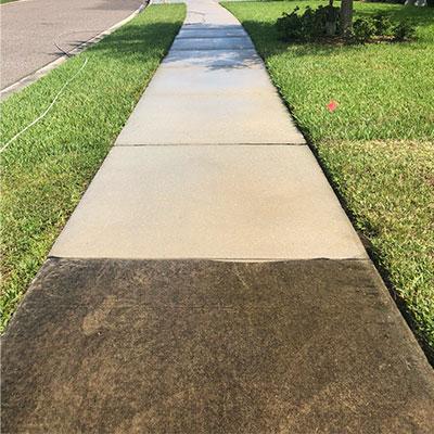 Concrete during pressure wash