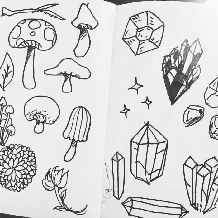 Mushroom and crystals