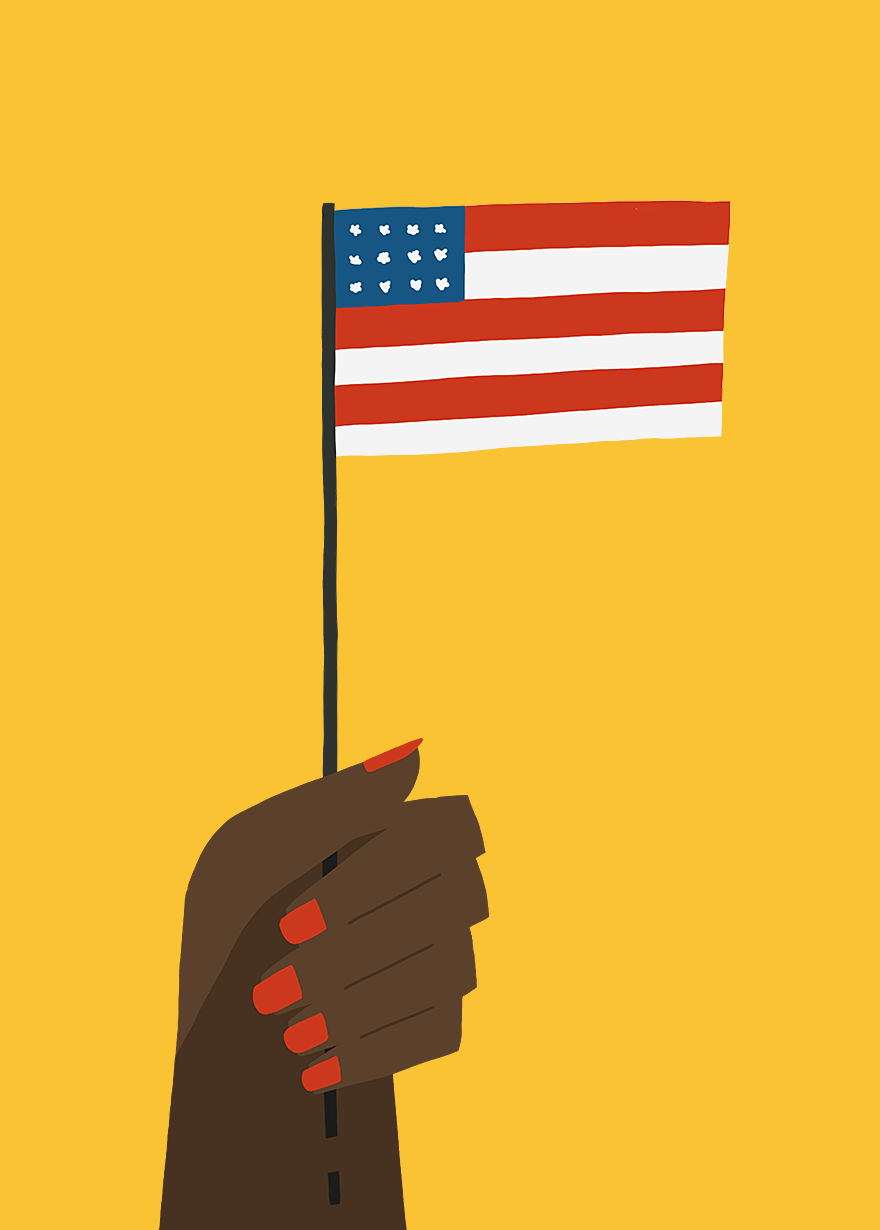 Illustration and animated gif of people's hands holding a flag encouraging you to vote