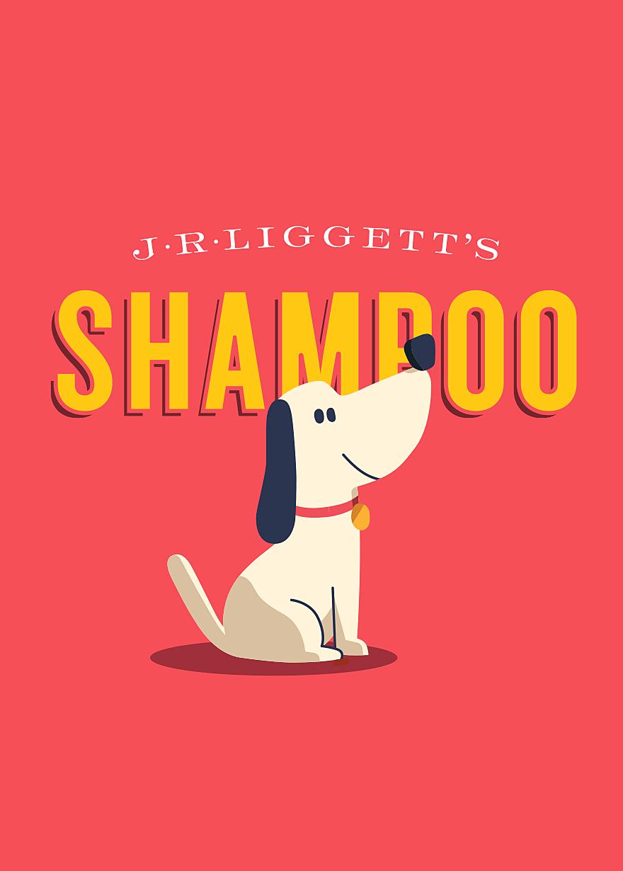 Illustration of a cute dog for J.R. Liggett's Pet Shampoo bars