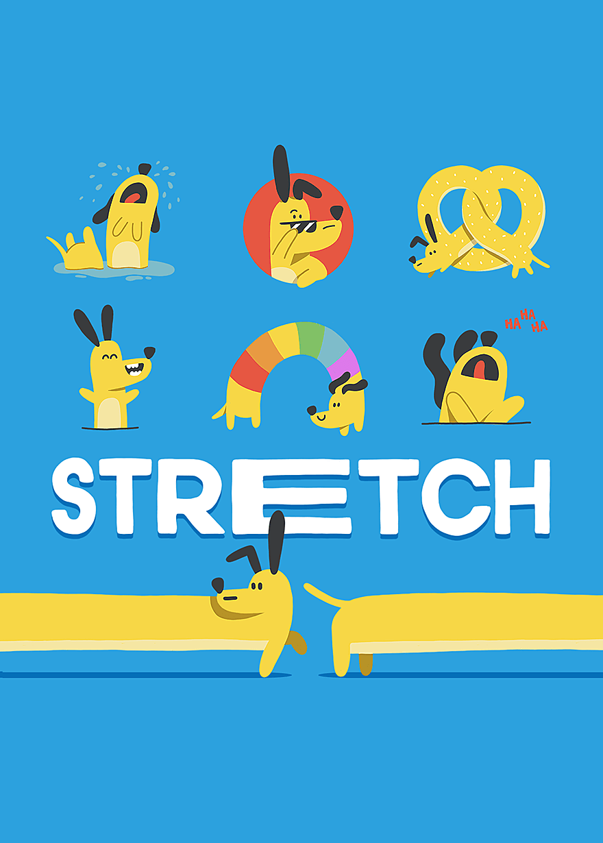 Facebook Messenger animated stickers - A dog named stretch
