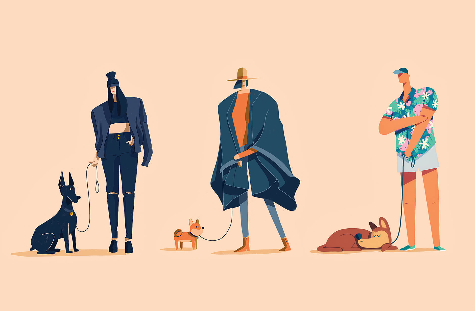Illustration series Year Of The Dog Walker celebrating street fashion