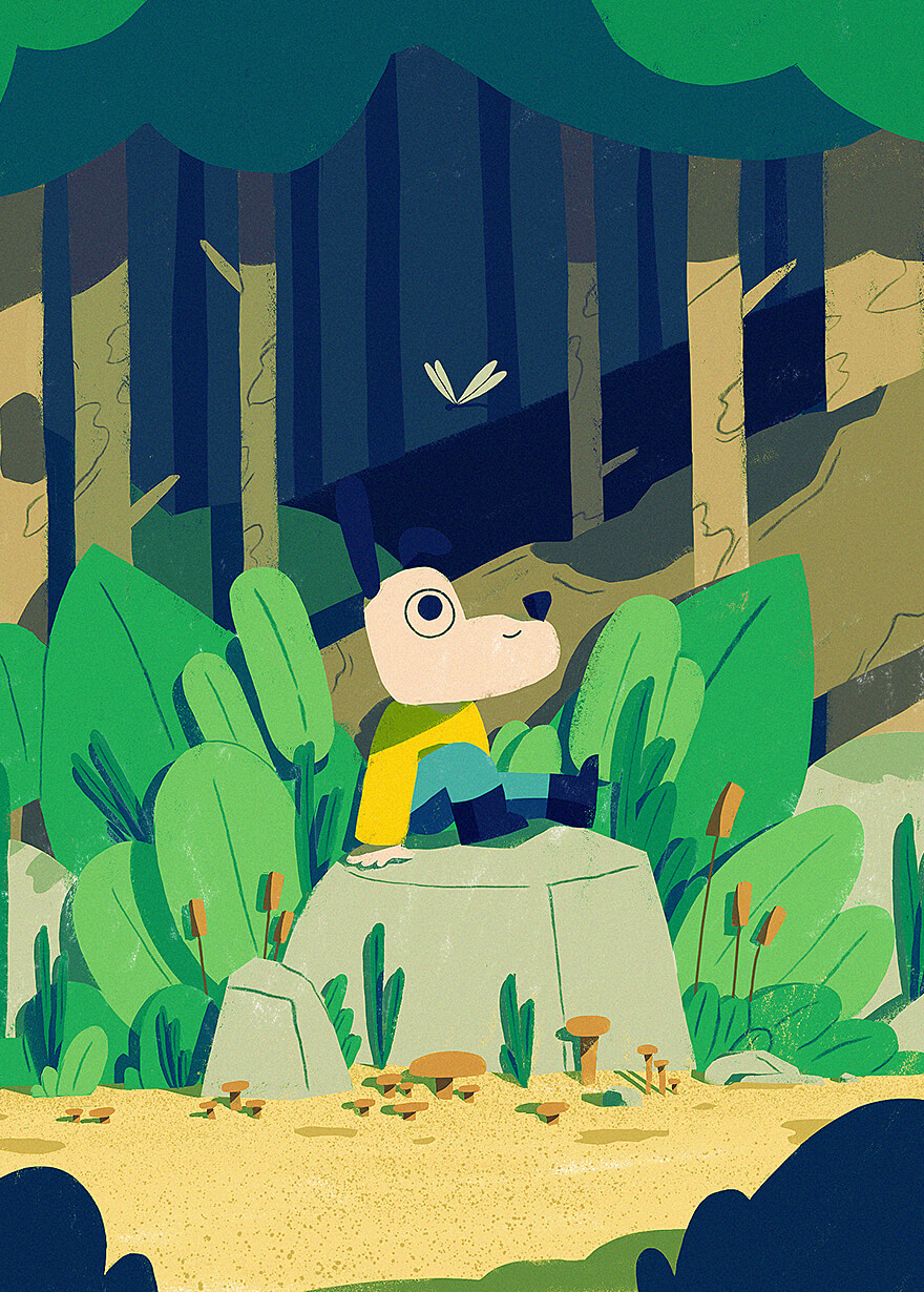 Illustration about a cute dog getting lost in the woods