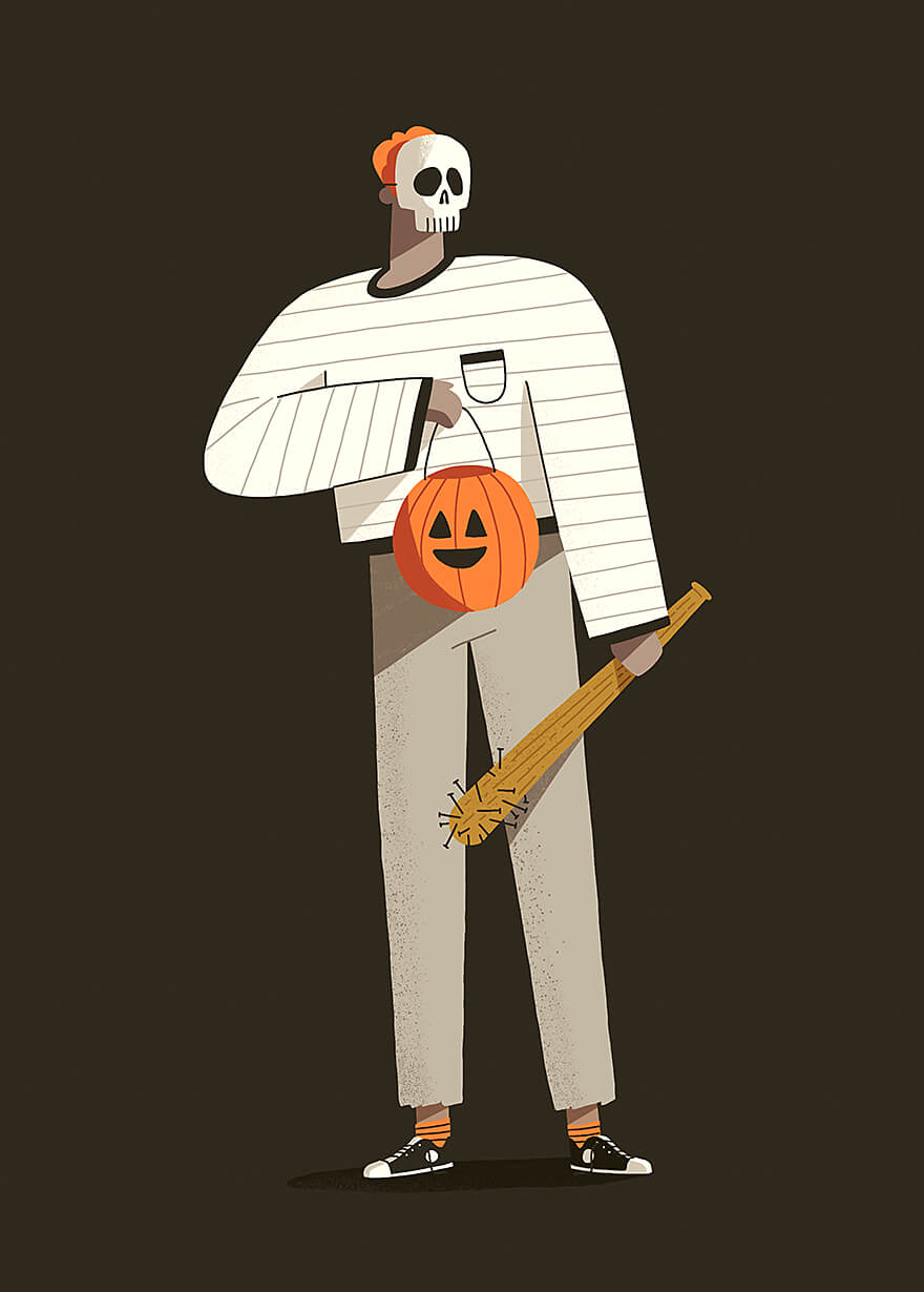 Illustration of a skull masked man holding a bat and trick or treating