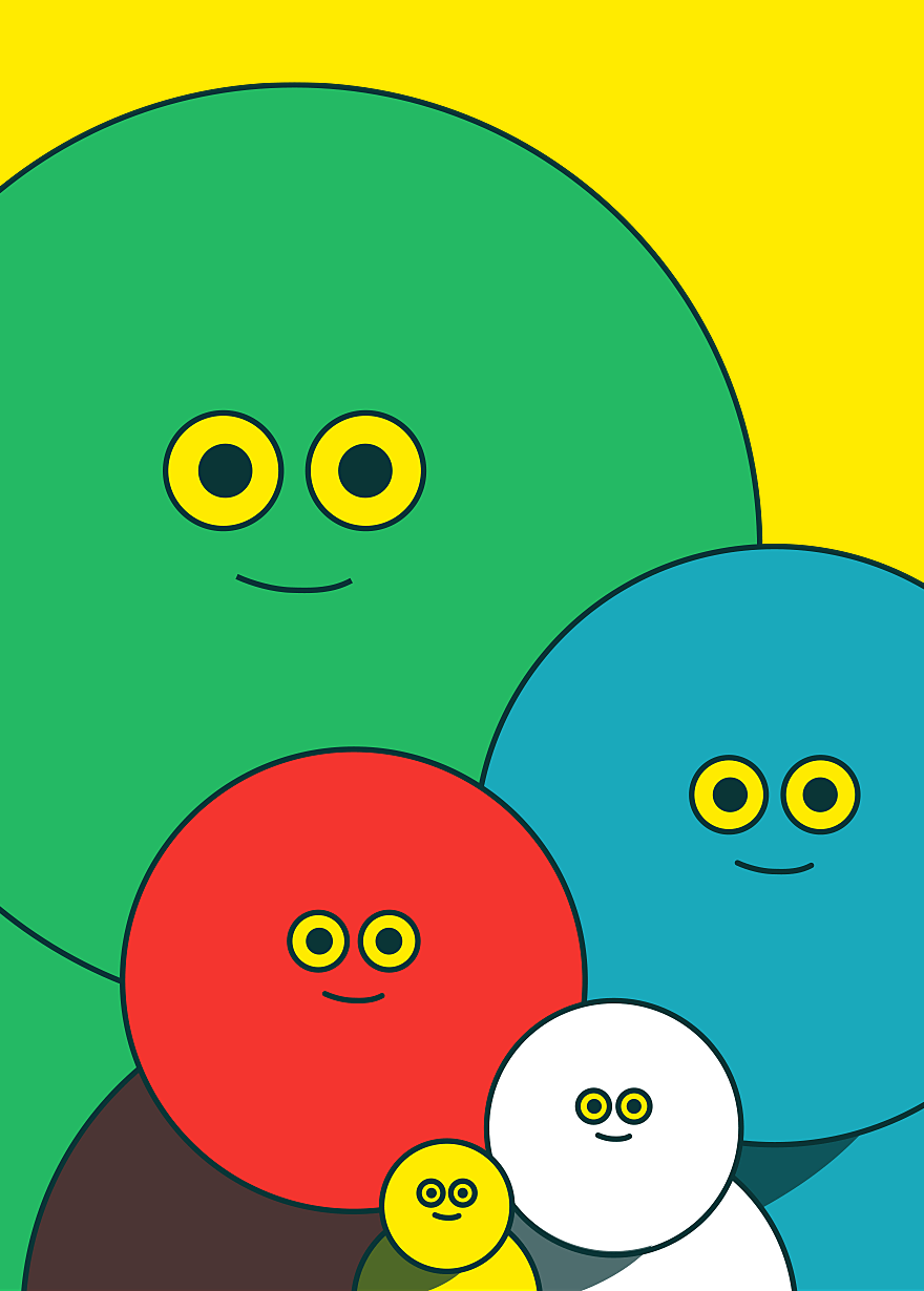 Colorful and cute family of circle shaped characters named Splendid Weirdos