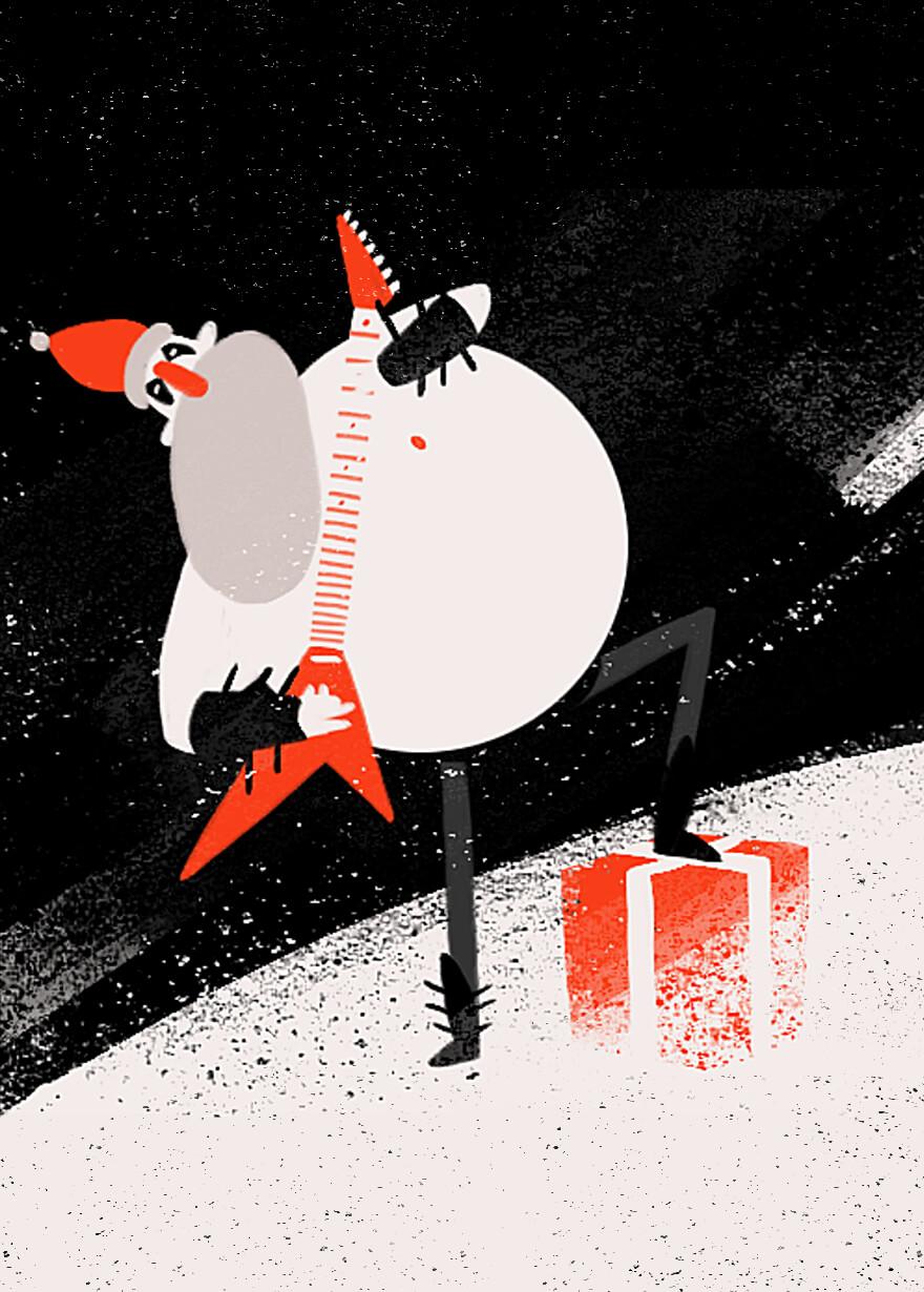 Animated gif of Santa as a headbanging metal head playing a flying V guitar