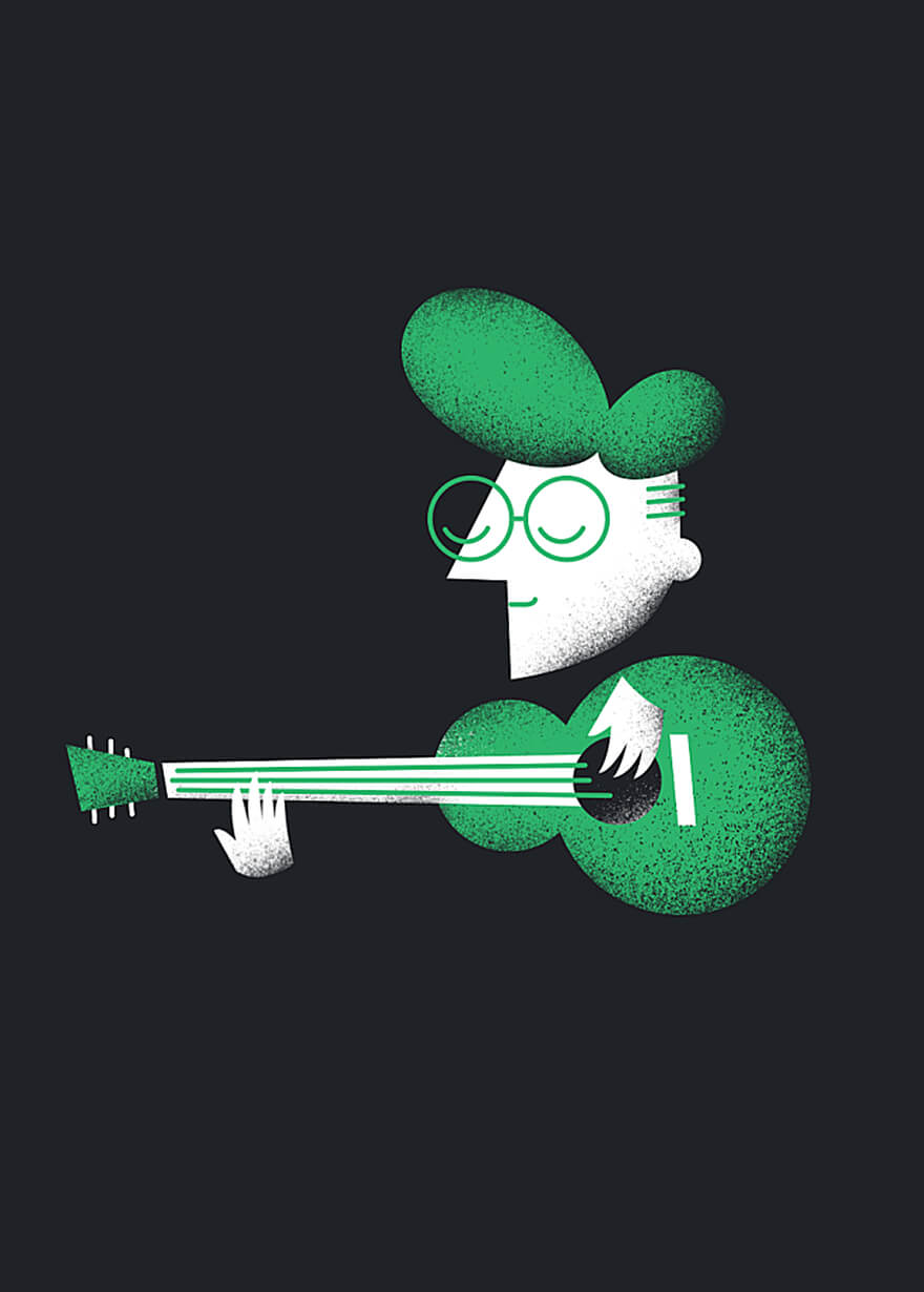 Animated of a guitar strumming character for the band Peoplemover