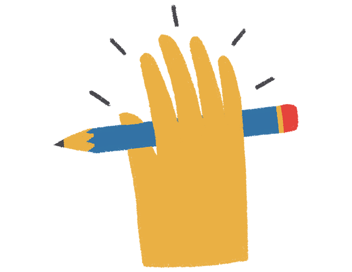 Illustration and graphic design - hand holding a pencil