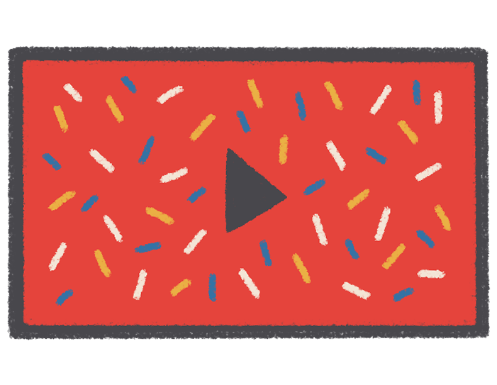 Animation and video production - illustrated and colorful screen with a play button