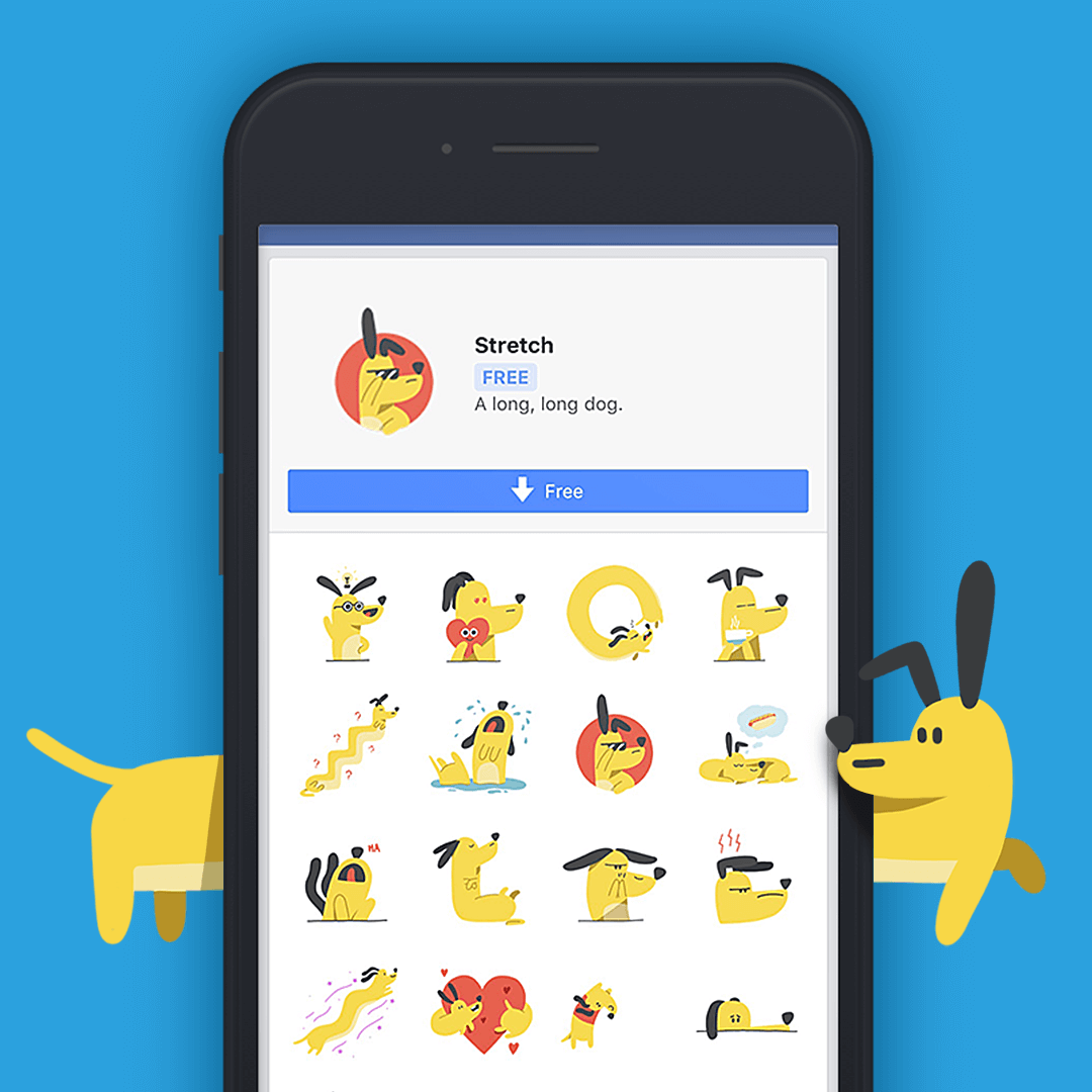 Greg Gunn portfolio project for Facebook Messenger - animated dog stickers