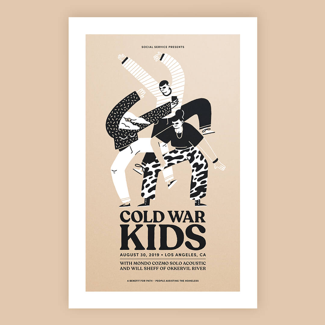 Greg Gunn portfolio project - Cold War Kids poster design for Los Angeles performance