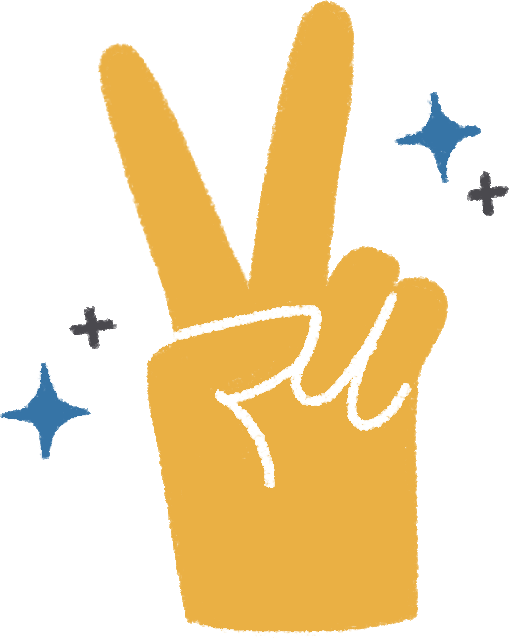 Say hi illustration of a hand making the peace symbol