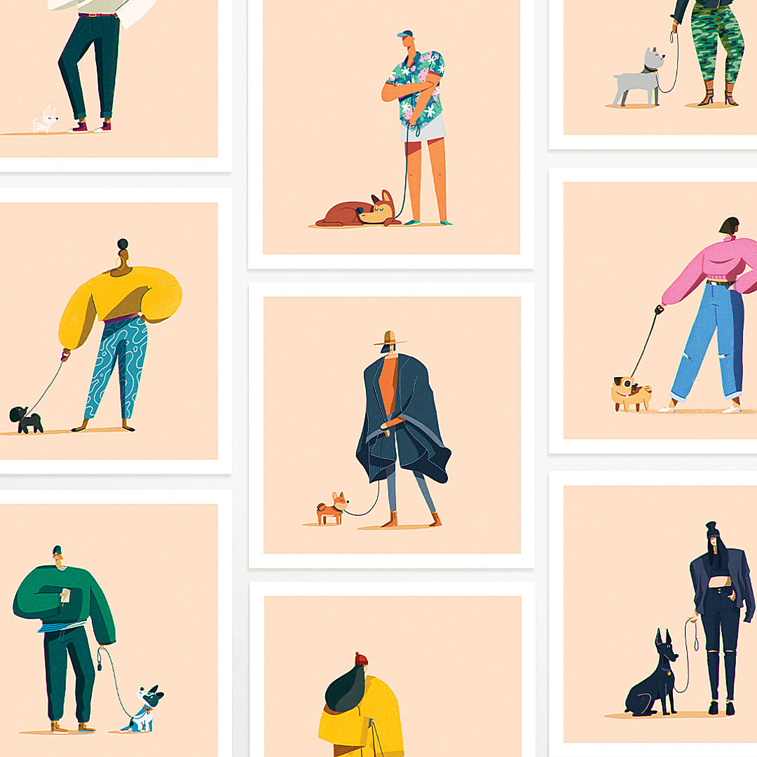 Greg Gunn portfolio project - Year of the Dog Walker illustration series