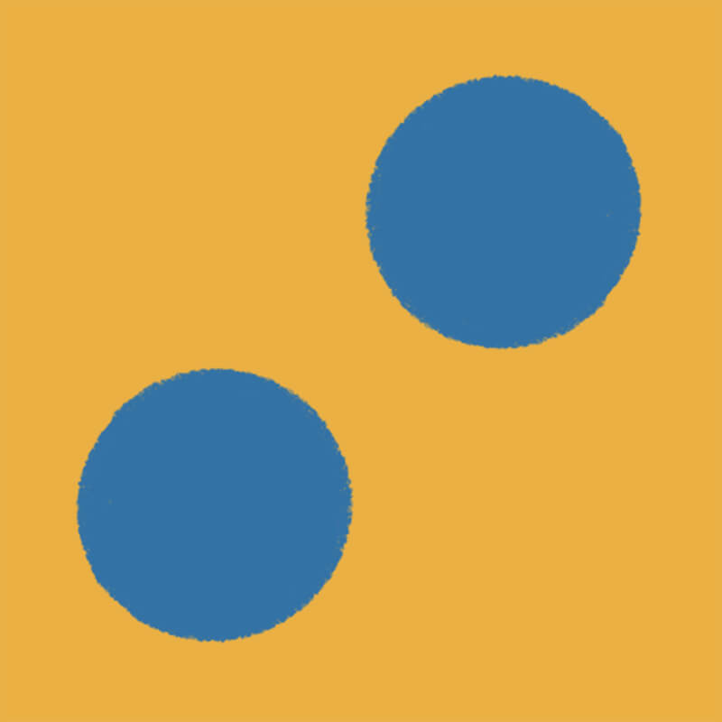 Illustration of a yellow box with two dots inside