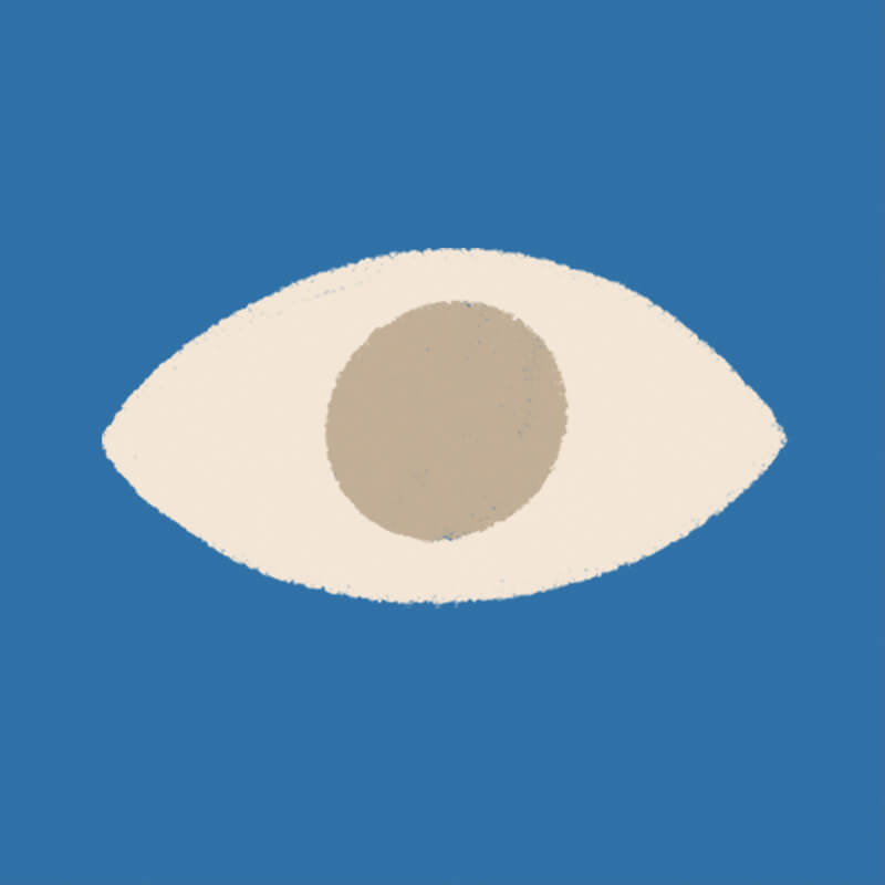 Illustration of a blue box with an eye in it