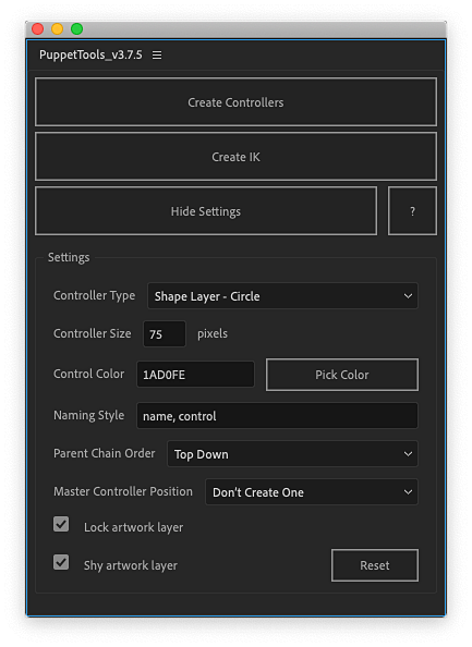 Screenshot of the Puppet Tools 3 script UI in Adobe After Effects.