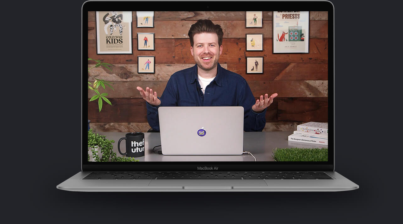 Laptop with a still from Color For Creatives video course