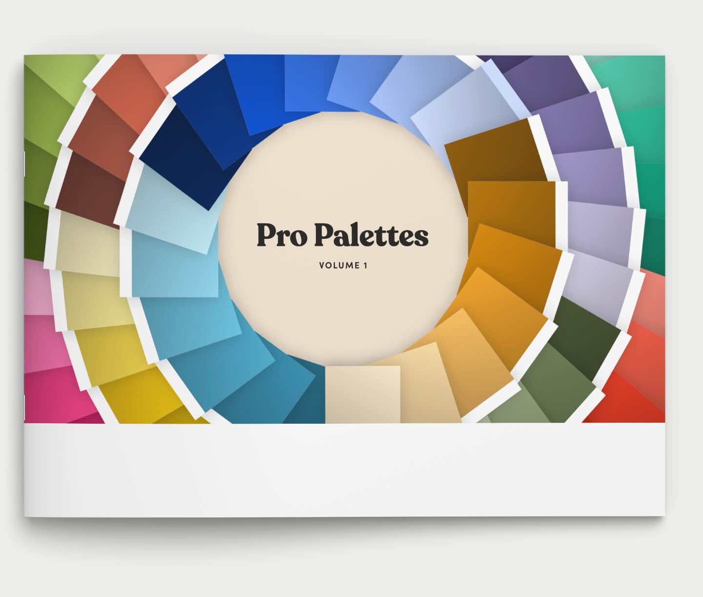 Mockup of a booklet with a spiral of color swatches with type that rads Pro Palettes Vol. 1