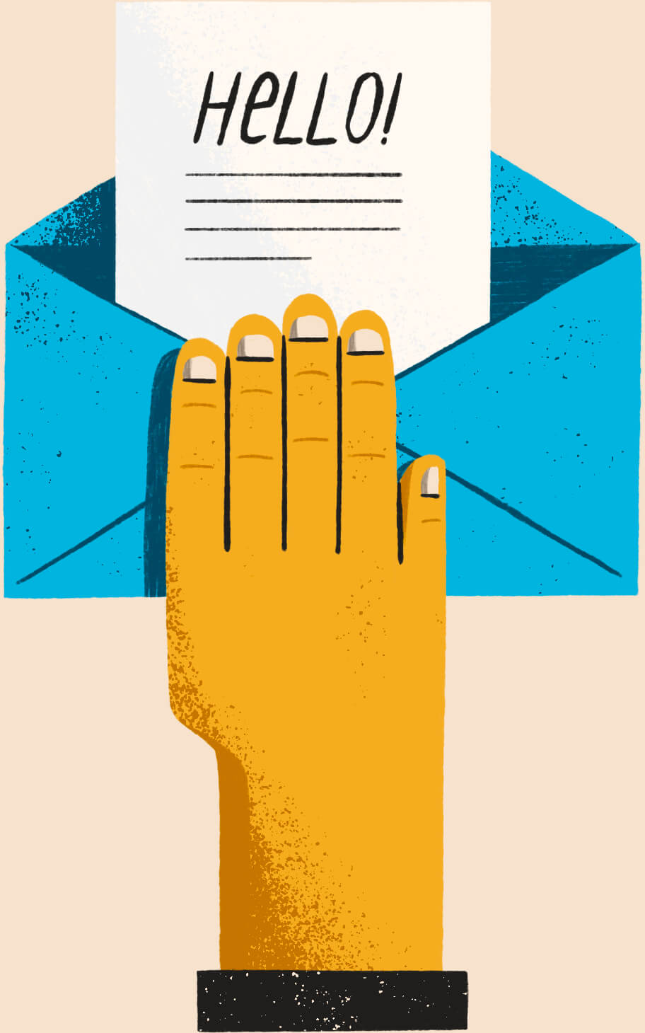 Illustration of a hand holding an open envelope with a paper note in it that reads HELLO!