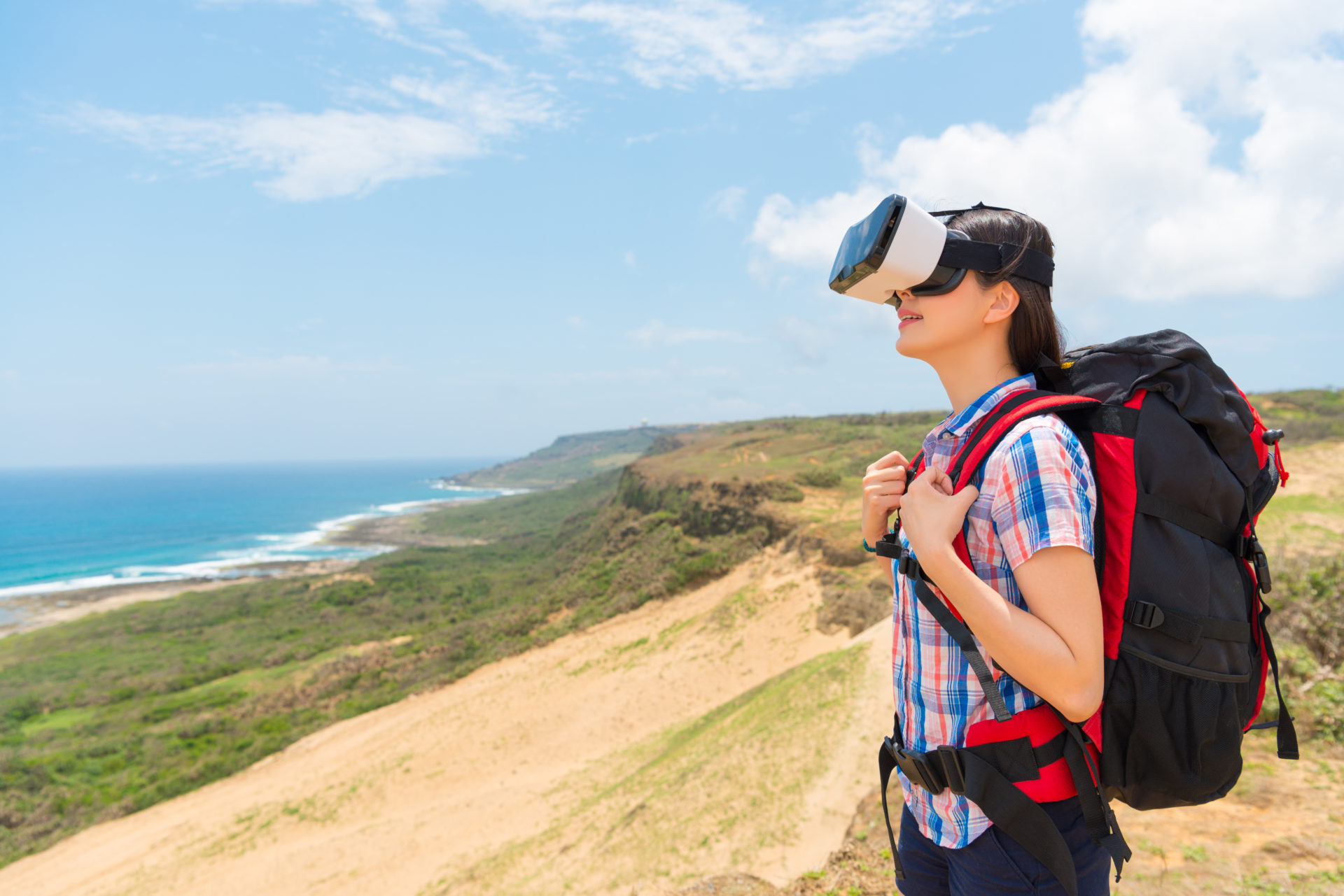 woman in VR traveling